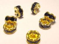 Strassrondell dunkelblaue Steine 6mm goldfarben