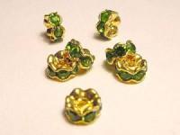 Strassrondellgrüne Steine 6mm goldfarben