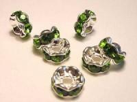 Strassrondellgrüne Steine 6mm silberfarben