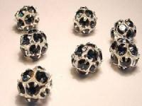 Strasskugel dunkelblaue Steine 10mm silberfarben