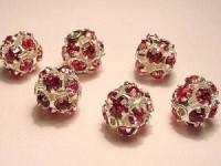 Strasskugel rose Steine 8mm silberfarben