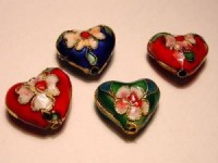 Cloisonne-Beads Herzen 4er Set bunt