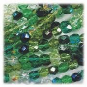 Glasschliffperlen 3mm MIX 100 Stück  Evergreen