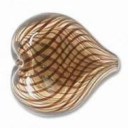 Glasperlen hohl Herz 20x22mm Amber Brown 9 Stück