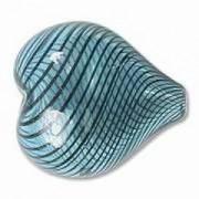 Glasperlen hohl Herz 20x22mm Blue Black 9 Stück