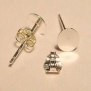 Ohrstecker mit Platte 6mm 1 Paar 925er Silber
