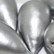 Paper Mache Bead Drop 40x23 mm Silver 1Stück