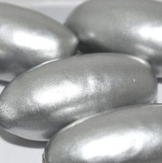 Paper Mache Bead Olive 40x18 mm Silver 1Stück