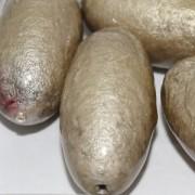 Paper Mache Bead Olive 40x18 mm Grey 1Stück