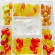 Glasperlen Mix L orange gelb