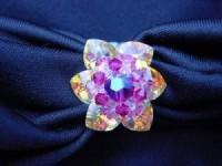 Perlenset Lotusring, Crystal Fuchsia