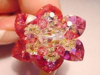 Perlenset Lotusring, Rose Crystal