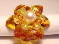 Perlenset Lotusring, Topaz Crystal mit Süßwasserperle