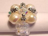 Perlenset Ring mit Süßwasserperlen, Silberkugeln und Swarovski Elementsperlen