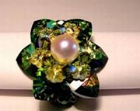 Perlenset Lotusring, Crystal Vitrail Medium mit Süßwasserperle