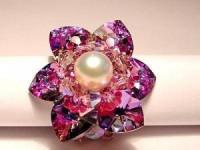 Perlenset Lotusring, Crystal Vitrail Light mit Süßwasserperle