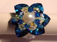 Perlenset Lotusring, Crystal Bermuda Blue