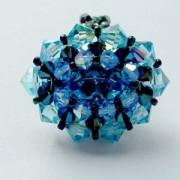 Perlenset Ring Venezia Aquamarine Metallic Blue
