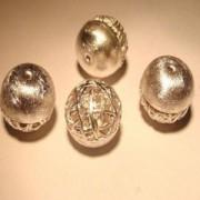 Kugel Kombi 13mm 925er Silber gebürstet mit Drahtgeflecht