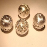 Kugel Kombi 9mm 925er Silber gebürstet mit Drahtgeflecht
