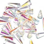 Spikes Glasperlen 17x7mm Crystal irisierend 6 Stück