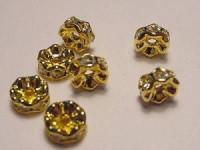 Strassrondell kristallfarbene Steine 6mm goldfarben