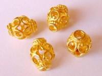 Perlen 12x15mm massiv Bali 925er Silber vergoldet 1 Stück