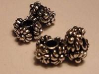 Perle Scheibe mit Blumendekor dekoriert 8x5mm massiv Bali 925er Silber
