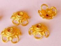 Perlenkappe 12x5mm massiv Bali 925er Silber vergoldet 2 Stück im Beutel
