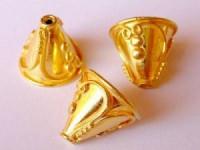 Perlenkappe 18x18mm massiv Bali 925er Silber vergoldet 2 Stück im Beutel