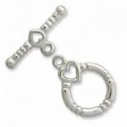 T-Verschluss 13mm Ring 19mm T-Stück Herzchen versilbert 1 Stück im Beutel