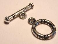 T-Verschluss 12mm Ring 20mm T-Stück silberfarben Maritim klein