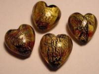 Glasperlen Goldfolie Herzform 15x15mm schwarz crystal