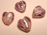 Glasperlen silverfoiled Herz 12x12mm rose