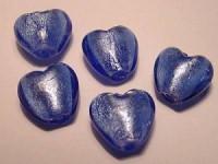Glasperlen silverfoiled Herz 15x15mm sapphire