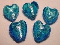 Glasperlen silverfoiled Herz 15x15mm turquoise
