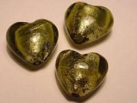 Glasperlen silverfoiled Herz 20x20mm oliv 10 Stück