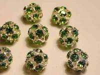 Strasskugelgrüne Steine 8mm silberfarben