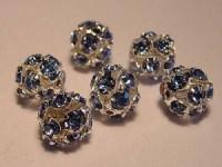 Strasskugel hellblau Steine 8mm silberfarben