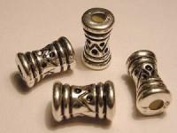 Metall Perlen Kunststoffkern 8x14mm Hantel silberfarben Inkamotiv