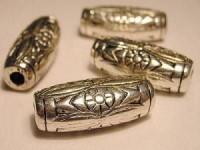 Metall Perlen Kunststoffkern 12x25mm gestauchtes Röhrchen silberfarben