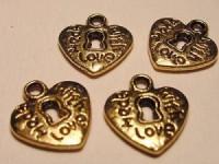 Anhänger Herz 13x13mm goldfarben 2 Stück
