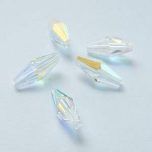 Swarovski Elements Perlen Bicones lang 15x6mm Crystal AB beschichtet