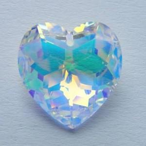 Swarovski Elements Anhänger Herzen facettiert 18mm Crystal AB beschichtet