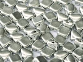 Silky Beads 2-hole 6 x 6 mm Aluminium Silver ca 50Stck