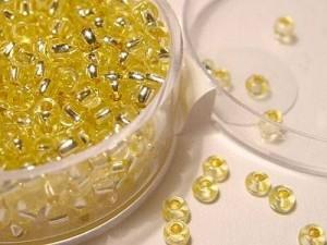 Rocailles 2,6mm mit Silbereinzug SONDERFARBEN, Gelb, Dose 17g