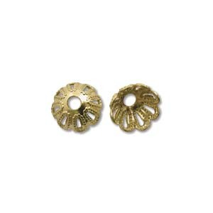 Perlenkappe 6mm vergoldet 10 Stück