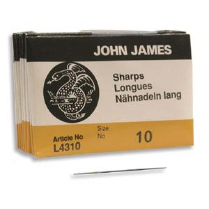 John James Needles Sharps 25 Stück Grösse 10