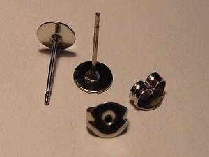 Ohrstecker mit Platte 6mm silberfarben 1 Paar