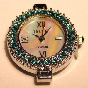 Uhrengehäuse rund silberfarben aquamarinefarbene Strasssteine Ziffernblatt perlmutt